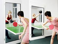 This is awesome! A door turns into a ping pong table when you needed, Cool concept! Designed by Tobias Fränzel. You just flip the inner panel down to create a instant ping pong table, after the ping pong game is over, it goes back to being a normal door. Camas Murphy, Door Design Interior, Space Saving Furniture, Smart Furniture, Modular Furniture, Furniture Plans, Ping Pong Table, Decoration, My Dream Home