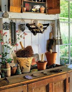 potting shed, that is pretty, practical & and not to posh.