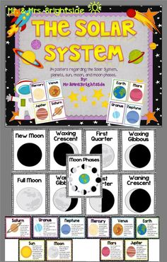 The Solar System - Planet Facts and Moon Phases (33 Posters). Great visual display for your science content wall or include them in your centers as a review.
