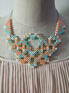 Princess Peach inspired Heart Perler Necklace by CSFoxBurrow
