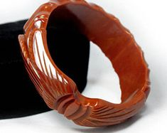 Carved Toffee Bakelite Bangle - AS IS, Bakelite Jewelry