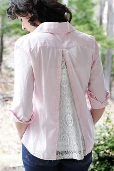Adding a lace insert to a shirt. Great for that too-tight shirt. Sew right side of a triangle of lace to wrong side of back of shirt