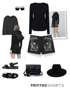 """""""Untitled #185"""" by cherrypie13 ❤ liked on Polyvore featuring MANGO, Helmut Lang, Jeffrey Campbell, rag & bone, The Cambridge Satchel Company and printedshorts"""