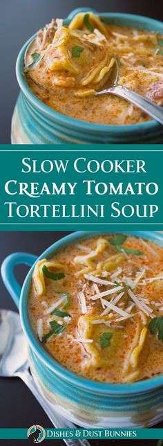 Slow Cooker Creamy Tomato Tortellini Soup from dishesanddustbunnies.com