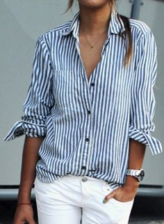 Casual Loose Striped Turn-Down Collar Long Sleeve Button Down Shirt  novashe.com Ropa 31671e0c529