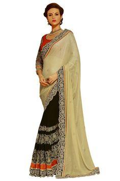 Marvelous Black and Cream Saree
