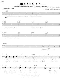 Human Again by Beauty and the Beast Free Sheet Music for Cello