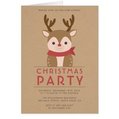 Rustic Reindeer Christmas Party Card - Xmascards ChristmasEve Christmas Eve Christmas merry xmas family holy kids gifts holidays Santa cards