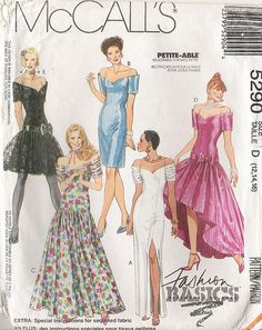 436 Romantic Evening Gowns Pattern for Fashion Dolls Wedding Dress Patterns, Dress Sewing Patterns, Doll Patterns, Vintage Patterns, Glamorous Evening Gowns, Evening Dresses, Romantic Evening, Evening Gown Pattern, Bridal Dresses
