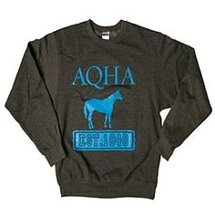 AQHA crewneck sweatshirt from Quarter Horse Outfitters! Metallic blue lettering.
