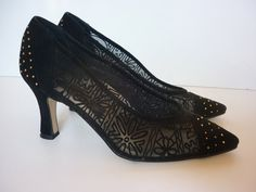 VTG 1980s High Heel Shoes Suede and Net  w by decotodiscovintage, $34.00