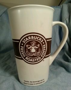 Starbucks Grande To Go Ceramic Mug Tall Coffee Cup Retired 2008 Brown Logo HTF #Starbucks #eBay