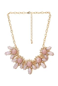 Floral Faux Gemstone Necklace | Forever21 - in Pink/Gold