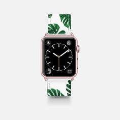 Tropical Green Watercolor Painted  Swiss Cheese Plant Leaves  - Saffiano Leather Watch Band
