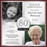 """Create your own elegant 80th Birthday Surprise Party Invitations. Classic executive style black and silver for men or women, personalized with double photo frame inserts for """"Then & Now"""" pictures -- Customize the name, date, and details for your special celebration. Can be easily customized for other special occasions, corporate events, retirement, and milestone celebrations -- 81st, 82nd, 83rd, 84th, 86th, 87th, 88th, 89th. **NOTE: Sized for SQUARE invitation cards -- extra postage…"""