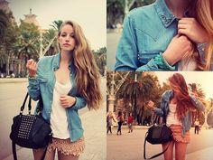 Zara Studded Denim Shirt, Mary Lane Knotted Bangle, H Armcandy, H Studded Bag, Zara Shorts