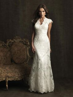 Fabric:Lace  Embellishment :Applique  Silhouette: A line  Neckline:Queen Anne  Strap:Strapless  Sleeves:Short Sleeves  Hemline:  Floor-Length   Back:zipper up  Train :  Chapel    Estimated Delivery Time: 30-40 days  $369.00