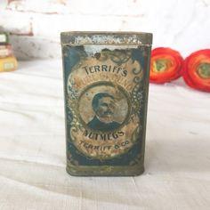 RARE Antique Pure Ground Nutmeg Spice tin litho can Jar Vintage advertising Terriff's & co. paper label storage kitchen décor decorative by WonderCabinetArts