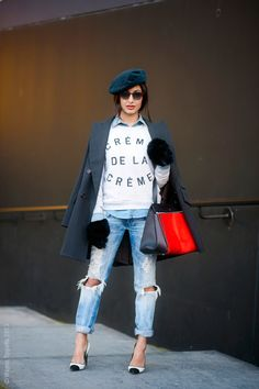 Nausheen Shah, London FW Love the destroyed cuffed boyfriend jeans with the duel tone heels-