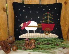 Wool Applique | Winter Wool Applique Pillow Pattern , Joy Sleigh and Christmas Sheep ...