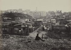 Top of the rue Champlain in the 20th Arrondissement, 1877. Here's a really fascinating relic, which shows the dichotomy between the urbanized central Paris of the 19th century, and the ruggedness of its outskirts. This was literally a shantytown.