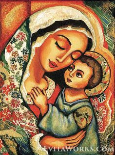 Madonna and Child Blessed Mother Virgin Mary and Jesus mother and son motherhood art print Christian art, signed print, Mary Jesus Mother, Mary And Jesus, Blessed Mother Mary, Mother Art, Mother And Child, Mother Daughters, Daddy Daughter, Religious Icons, Religious Art