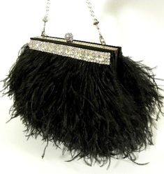 Ostrich Feather Evening Bag Purse with Swarovski Crystals ~ from Etsy shop, White Aisle Boutique, $ 399