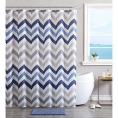 Viv + Rae Devonte Chevron Shower Curtain Set Color: Blue