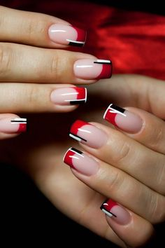 Black and Red Nail Designs for the Halloween Celebrations : Red And Black Colour Combinations French Nails. black and red nail art designs,black and red nail ideas,black and red nails,halloween nails French Nails, French Manicure Nails, Black French Manicure, Gel Manicures, French Polish, Manicure Tips, French Manicure Designs, Red Nail Designs, Nails Design