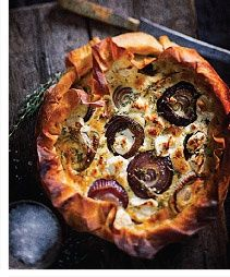 Goats cheese and red onion tart.