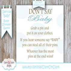Donu0027t Say Baby Baby Shower Game, Blue Polka Dots Clothes Pin Game Diaper Pin  Game Baby Boy Shower Game INSTANT DOWNLOAD   009 001