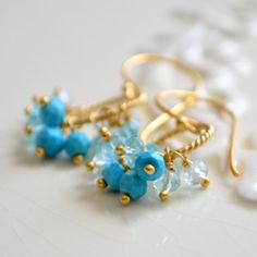 NEW Blue Turquoise Earrings Aqua Apatite and by livjewellery, $95.00 https://www.etsy.com/listing/189913318/new-blue-turquoise-earrings-aqua-apatite?ref=listing-2