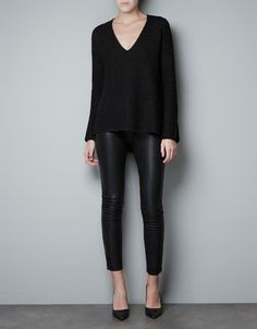 Sweater & leather leggings (Zara)