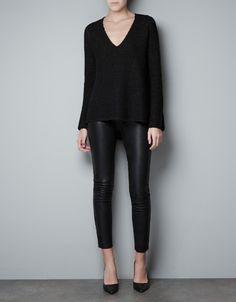 Sweater & leather leggings (Zara)