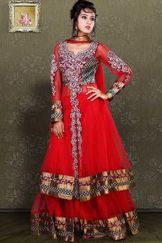 Designer Embroidered Wedding Lehenga Choli; Red Net and Brocade Bridal and Wedding Lehenga Choli