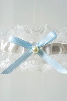 Wedding Garter Ivory Lace Baby Blue Bow by LaGartierGarters. The Priscilla Wedding Garter.