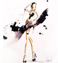 #watercolor #fashion #illustration by Claire Thompson ( Claire Ashley ) More