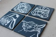 star wars art . 4 - 12x12's . millennium falcon, darth vader, storm trooper, R2D2 or yoda.. $72.00, via Etsy.