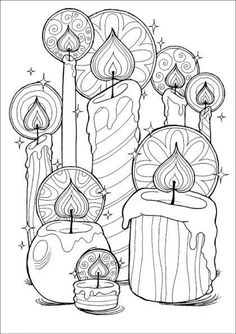 Christmas Coloring Pages Candles Christmas Coloring Pages, Coloring Book Pages, Printable Coloring Pages, Coloring Sheets, Coloring Pages For Grown Ups, Christmas Colors, Christmas Art, Christmas Candles, Xmas
