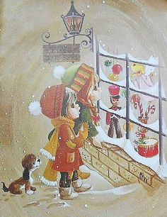 Image result for illustration looking into toystore window