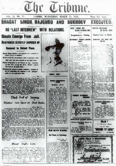 The Tribune announces the execution of Bhagat Singh and Sukhdev.