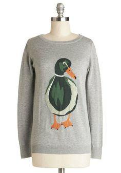Happy Go Ducky Sweater. Youre feeling energetic and eclectic today, so you reach for this grey duck sweater by Sugarhill Boutique! #grey #modcloth