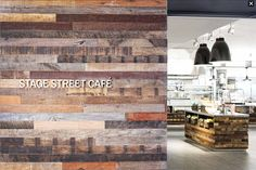 Tradewinds Patina, a mixture of Indonesian Hardwoods, was crafted into paneling and incorporated through the interior of a retail store's NJ headquarters. Open Office, Trade Show, Restaurant Design, Industrial Design, Design Projects, Office Decor, Branding Design, Hardwood, Photo Wall