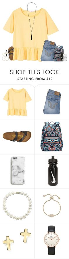 """first day of high school was "" by secfashion13 ❤ liked on Polyvore featuring MANGO, Hollister Co., Birkenstock, Vera Bradley, Harper & Blake, NIKE, Lord & Taylor, Kendra Scott, Bloomingdale's and Topshop"