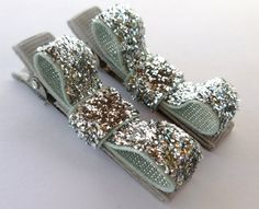SPARKLE makes me think of my neice Molly <3  silver sparkle clips--small 2 inch tuxedo hair bows--valentines day hair accessories for baby toddler big girl--holiday gift ideas. $2.99, via Etsy.