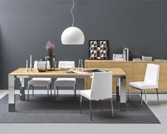 Gate, modern extending wood top dining table with chrome or metal brushed legs by Calligaris #diningroom #homedecor #interiordesign #calligaris #interiors #home