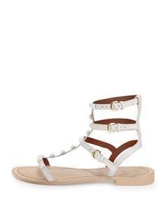 X2P08 Rebecca Minkoff Georgina Studded Gladiator Sandal, Creme