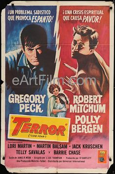Happy Birthday #GregoryPeck https://eartfilm.com/search?q=gregory+peck #actors #acting  #ToKillAMockingbird #CapeFear #OnTheBeach #Atticus #Broadway #theater #movies #film #cinema #posters #movieposters    Cape Fear aka Terror-1962-Gregory Peck-Robert Mitchum-Polly Bergen-27x41