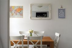 Print hung with a simple nail and clothes hanger Apartment Therapy: Teri & Nick's Handmade Home in London
