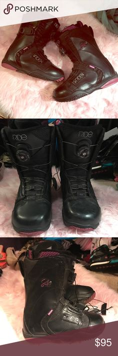 Ride Snowboard Boots Sash Boa Coiler Black Purple Gently used a few times.  I will clean them up really good (especially the bottoms 😁) before I send them out. Ride Shoes Winter & Rain Boots